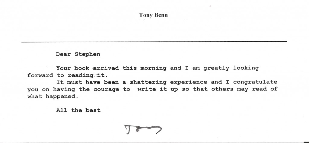Message to Stephen Travers from Tony Benn MP